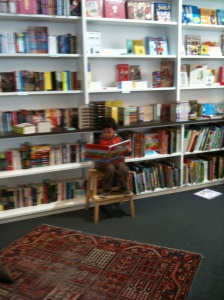 Kai enjoying the children's books at Fullers Bookshop